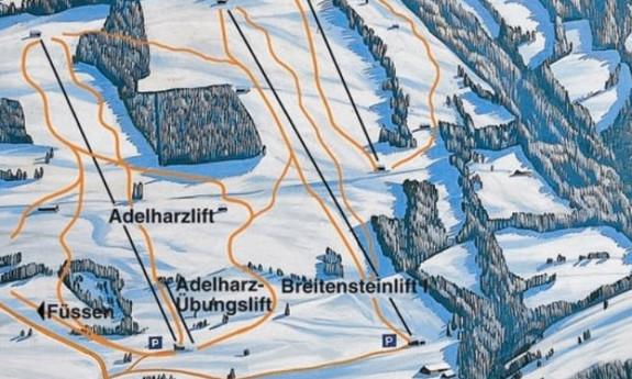 Náhled skimapy areálu Adelharz a Breitensteinlifte Kranzegg