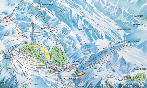 Náhled skimapy areálu Alpe d'Huez