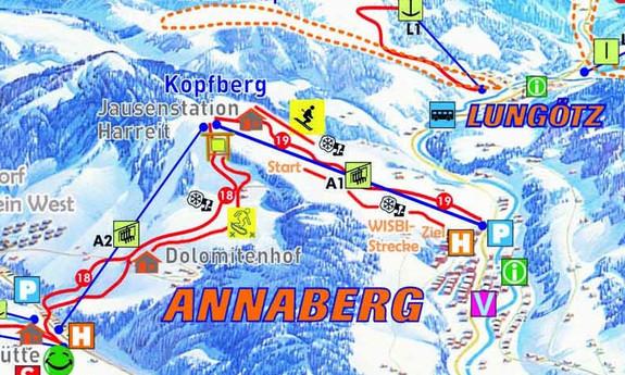 Náhled skimapy areálu Annaberg - Lungötz