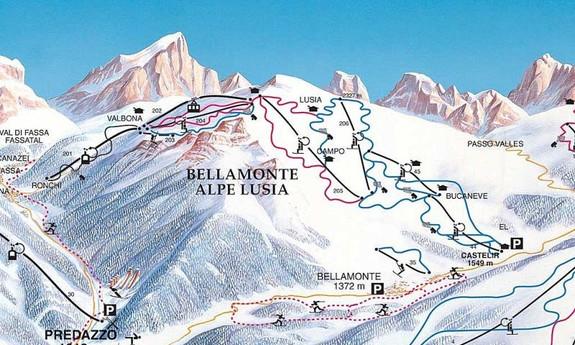 Náhled skimapy areálu Alpe Lusia - Bellamonte