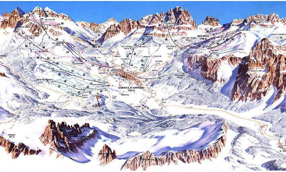 Náhled skimapy areálu Cortina d'Ampezzo