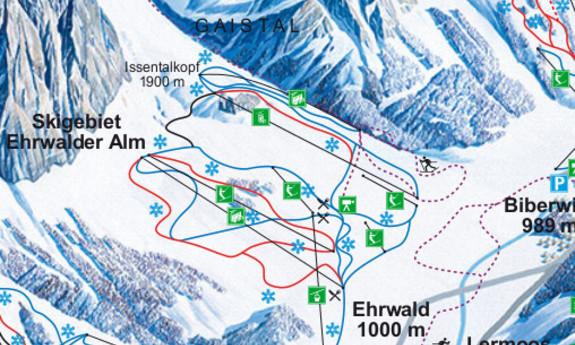 Náhled skimapy areálu Ehrwald / Ehrwalder Alm