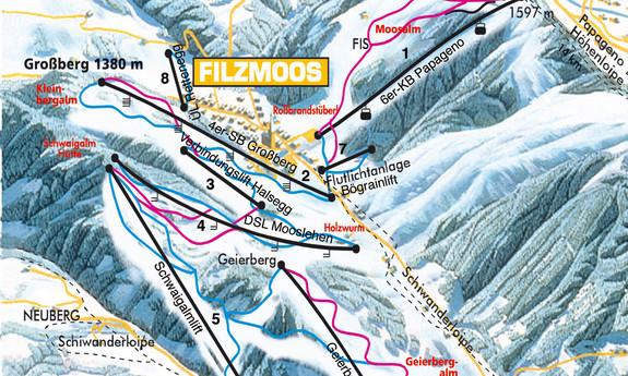 Náhled skimapy areálu Filzmoos - Neuberg