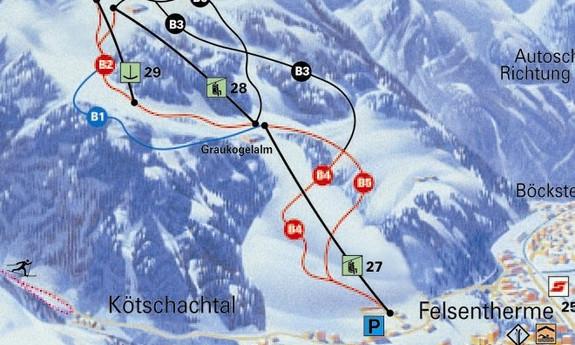 Náhled skimapy areálu Bad Gastein / Graukogel