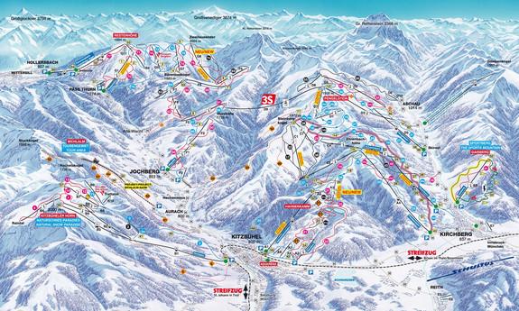 Náhled skimapy areálu Kitzbühel / Kirchberg / Jochberg / Pass Thurn