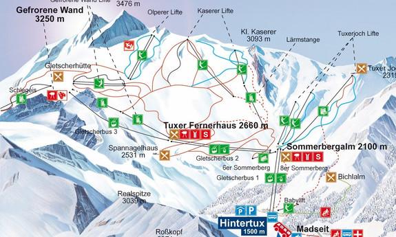 Náhled skimapy areálu Ledovec Hintertux