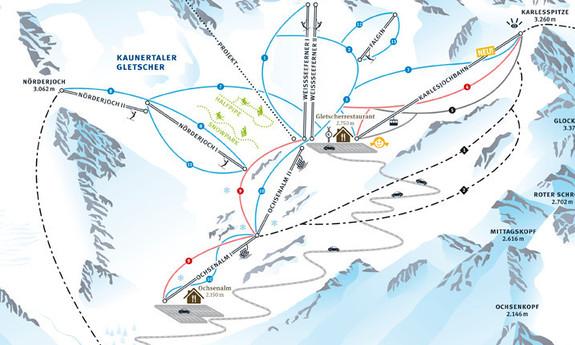 Náhled skimapy areálu Ledovec Kaunertal