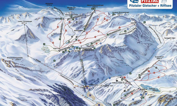 Náhled skimapy areálu Ledovec Pitztal
