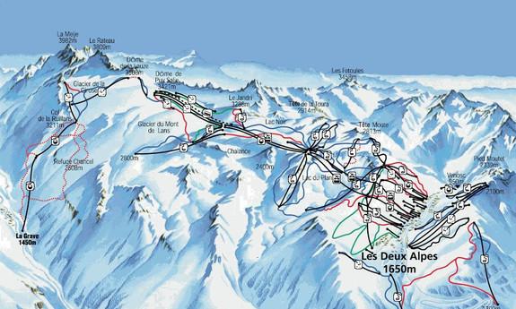Náhled skimapy areálu Les 2 Alpes - ledovec La Meije