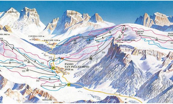 Náhled skimapy areálu Passo San Pellegrino - Col Margherita - Falcade