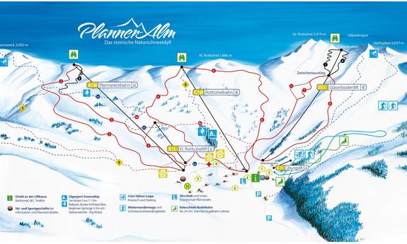Náhled skimapy areálu Donnersbach / Planneralm