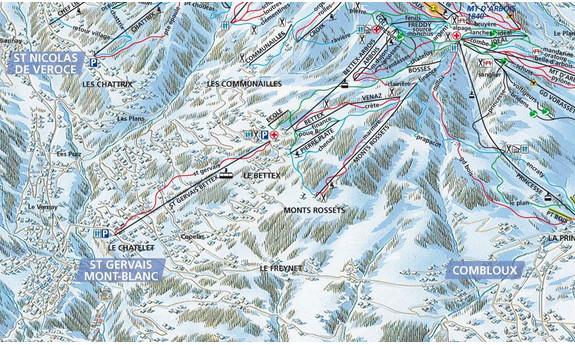 Náhled skimapy areálu Saint Gervais - Mont Blanc