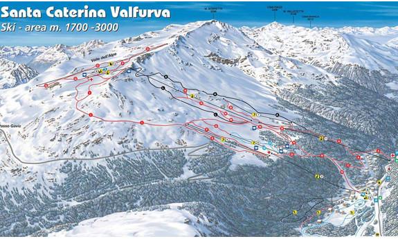 Náhled skimapy areálu Santa Caterina / Valfurva