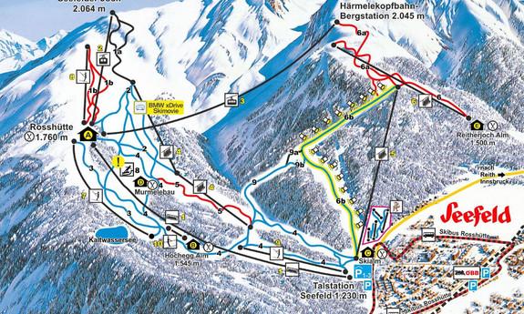 Náhled skimapy areálu Seefeld / Rosshütte