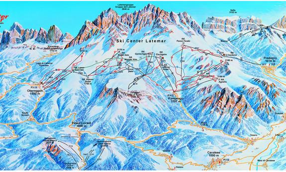 Náhled skimapy areálu Ski Center Latemar