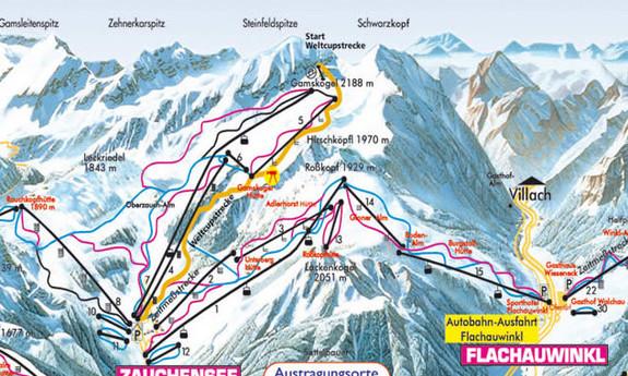 Náhled skimapy areálu Zauchensee - Flachauwinkl