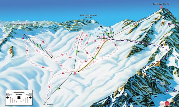Náhled skimapy areálu Zugspitze