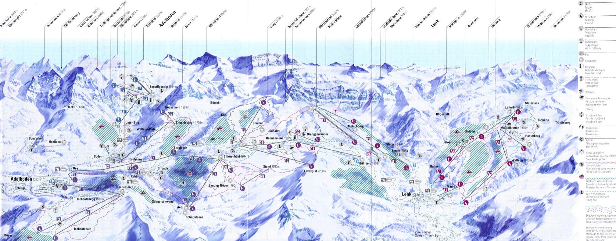 Lyžařská mapa sjezdovek areálu Adelboden - Lenk