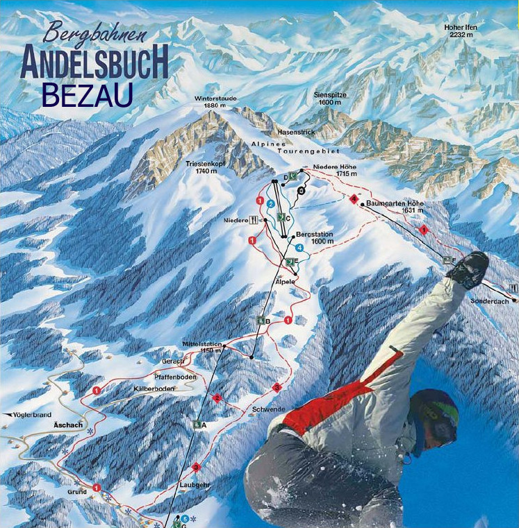 Lyžařská mapa sjezdovek areálu Andelsbuch - Bezau