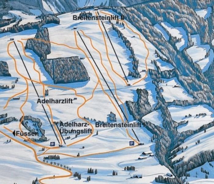Lyžařská mapa sjezdovek areálu Adelharz a Breitensteinlifte Kranzegg
