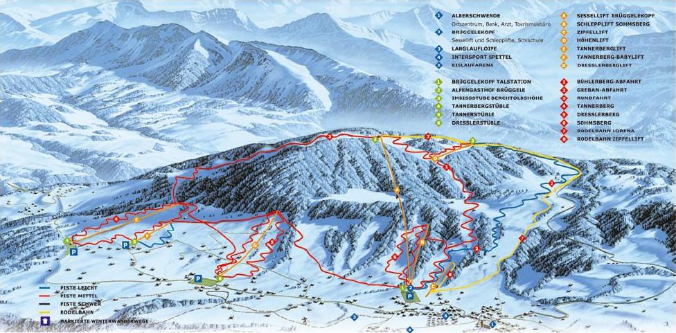 Lyžařská mapa sjezdovek areálu Alberschwende / Brüggelekopf - Dresslerberg - Tannerberg