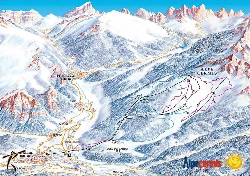 Lyžařská mapa sjezdovek areálu Alpe Cermis
