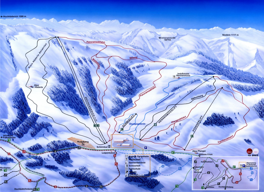 Lyžařská mapa sjezdovek areálu Alpenarena Hochhäderich Hittisau