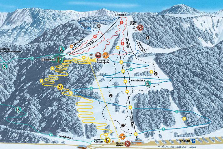Lyžařská mapa sjezdovek areálu Alpsee - Bergwelt