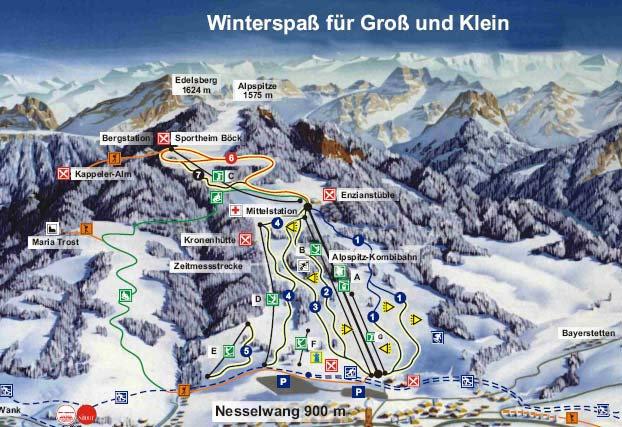 Lyžařská mapa sjezdovek areálu Alpspitze / Edelsberg