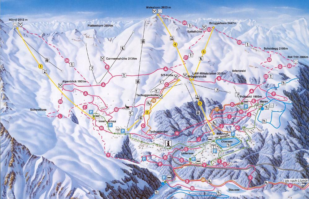 Lyžařská mapa sjezdovek areálu Arosa
