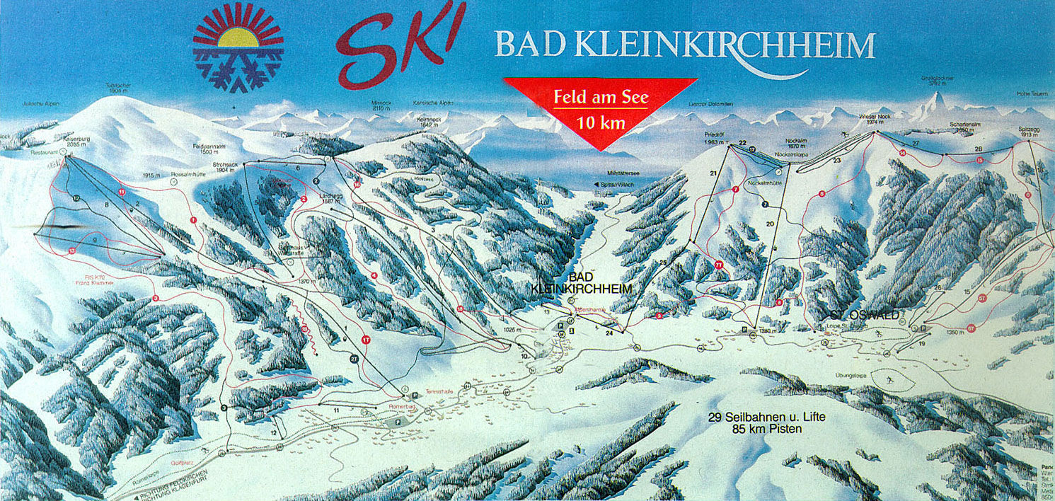 Lyžařská mapa sjezdovek areálu Bad Kleinkirchheim - St. Oswald