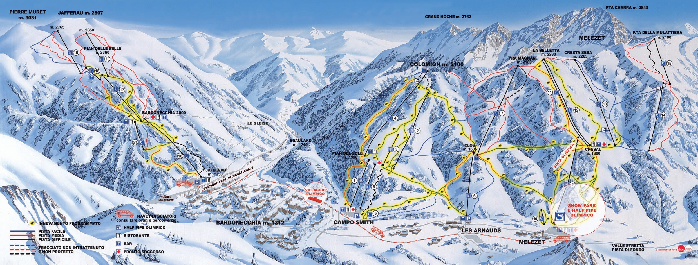 Lyžařská mapa sjezdovek areálu Bardonecchia