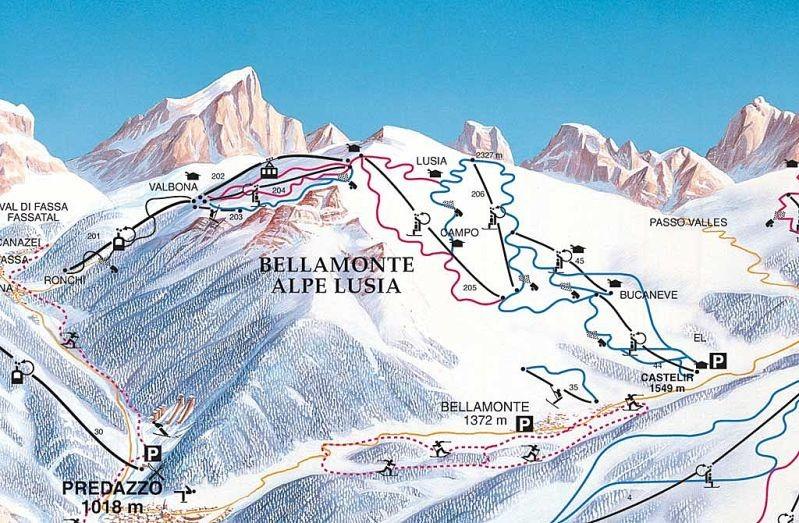 Lyžařská mapa sjezdovek areálu Alpe Lusia - Bellamonte