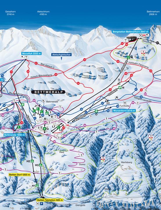Lyžařská mapa sjezdovek areálu Aletsch Arena