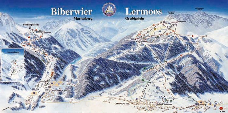 Lyžařská mapa sjezdovek areálu Biberwier - Marienberg