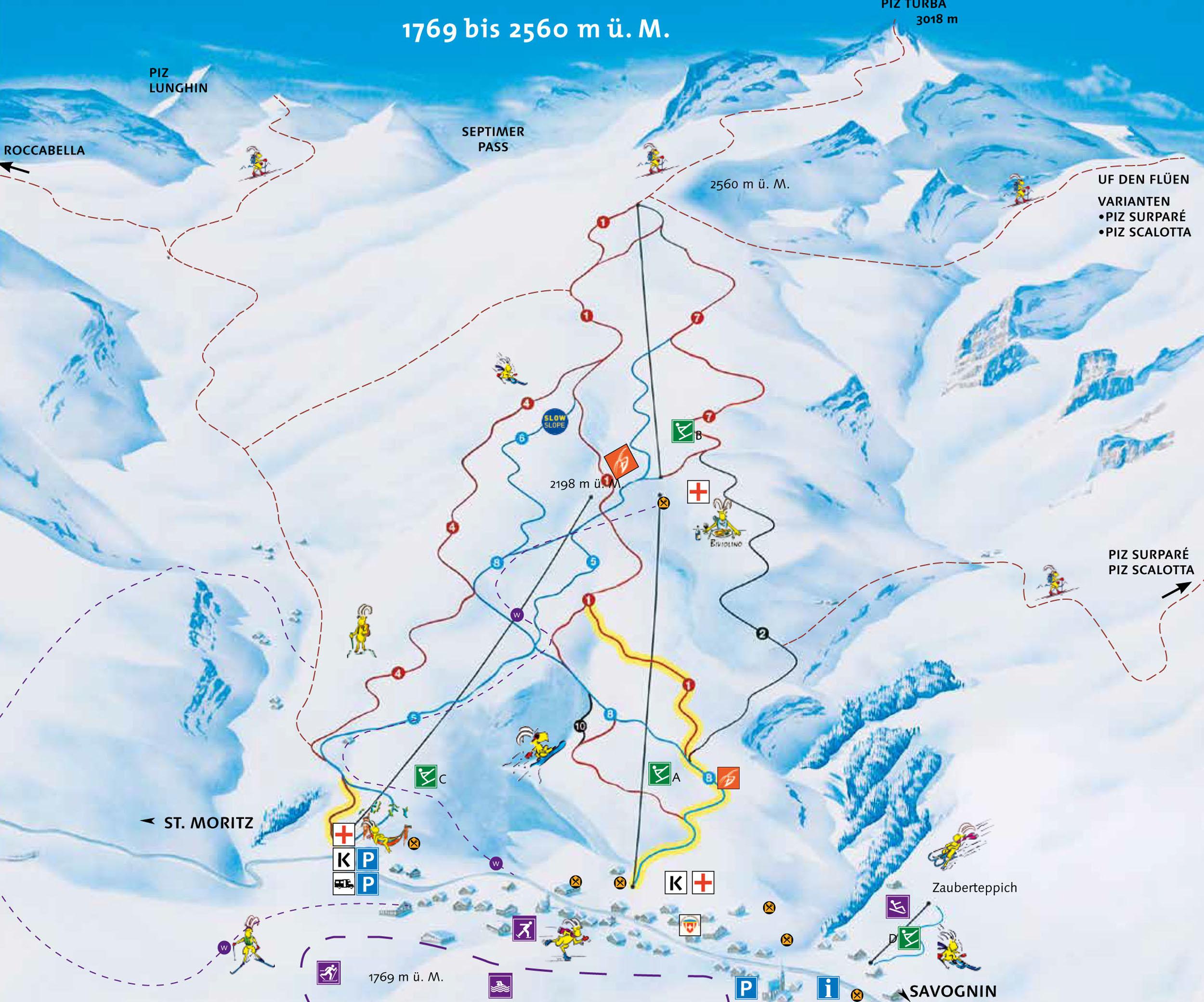 Lyžařská mapa sjezdovek areálu Bivio