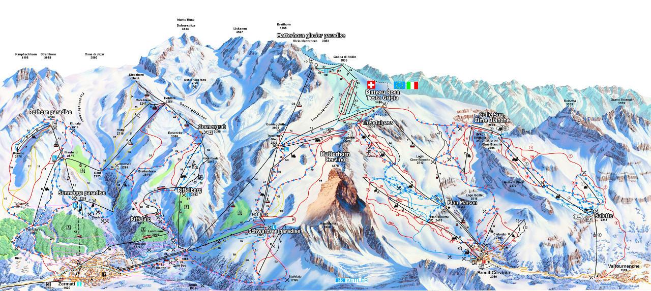 Lyžařská mapa sjezdovek areálu Zermatt - Cervinia