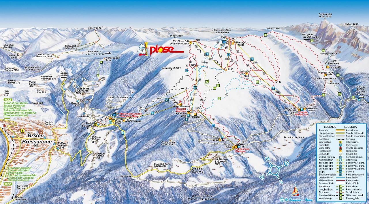 Lyžařská mapa sjezdovek areálu Brixen / Plose