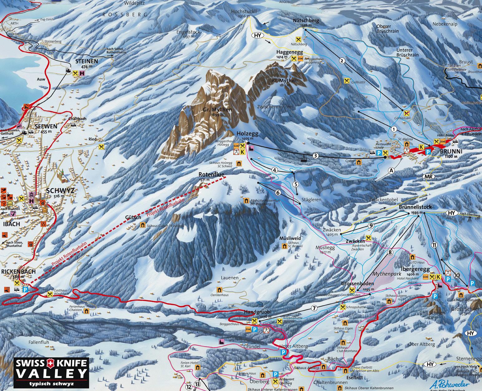 Lyžařská mapa sjezdovek areálu Brunni