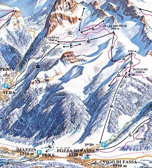 Lyžařská mapa sjezdovek areálu Buffaure - Ciampac