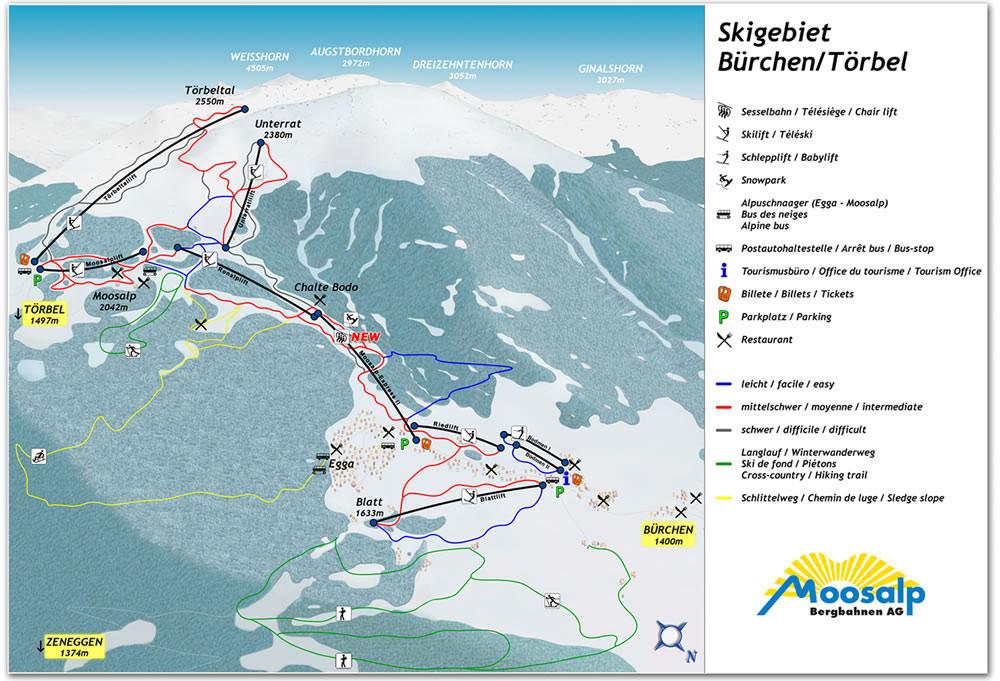 Lyžařská mapa sjezdovek areálu Bürchen