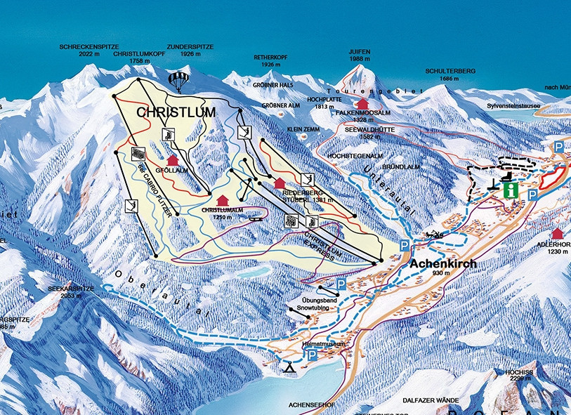 Lyžařská mapa sjezdovek areálu Achenkirch / Christlum
