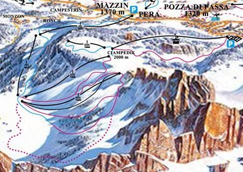 Lyžařská mapa sjezdovek areálu Ciampedie