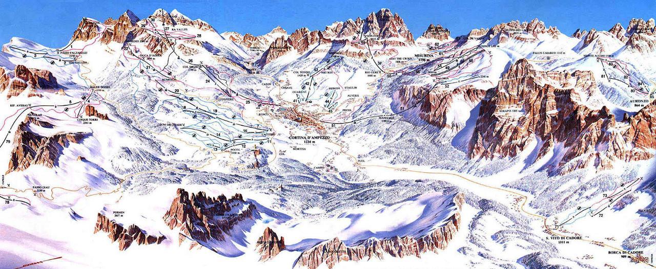 Lyžařská mapa sjezdovek areálu Cortina d'Ampezzo