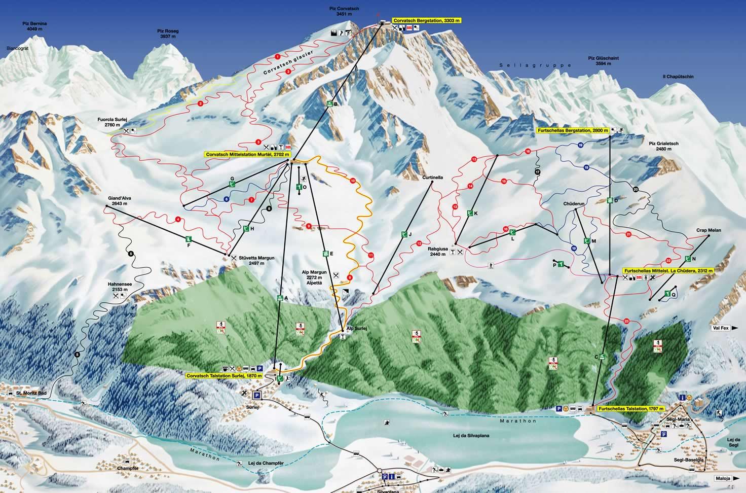 Lyžařská mapa sjezdovek areálu Corvatsch