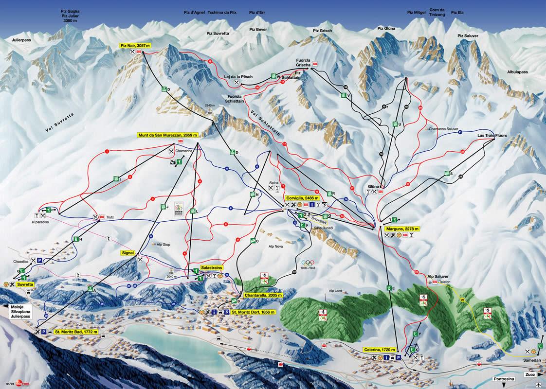 Lyžařská mapa sjezdovek areálu Corviglia