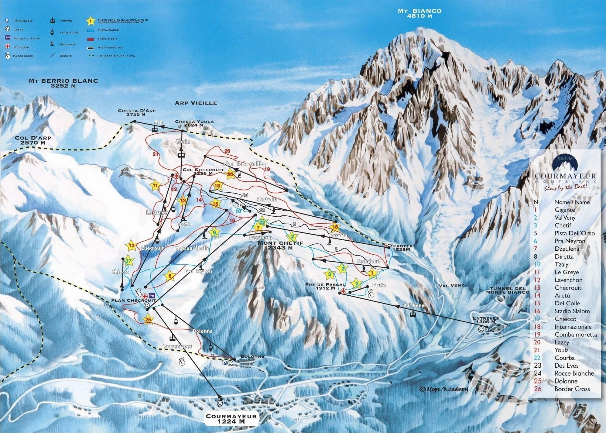 Lyžařská mapa sjezdovek areálu Courmayeur / Monte Bianco