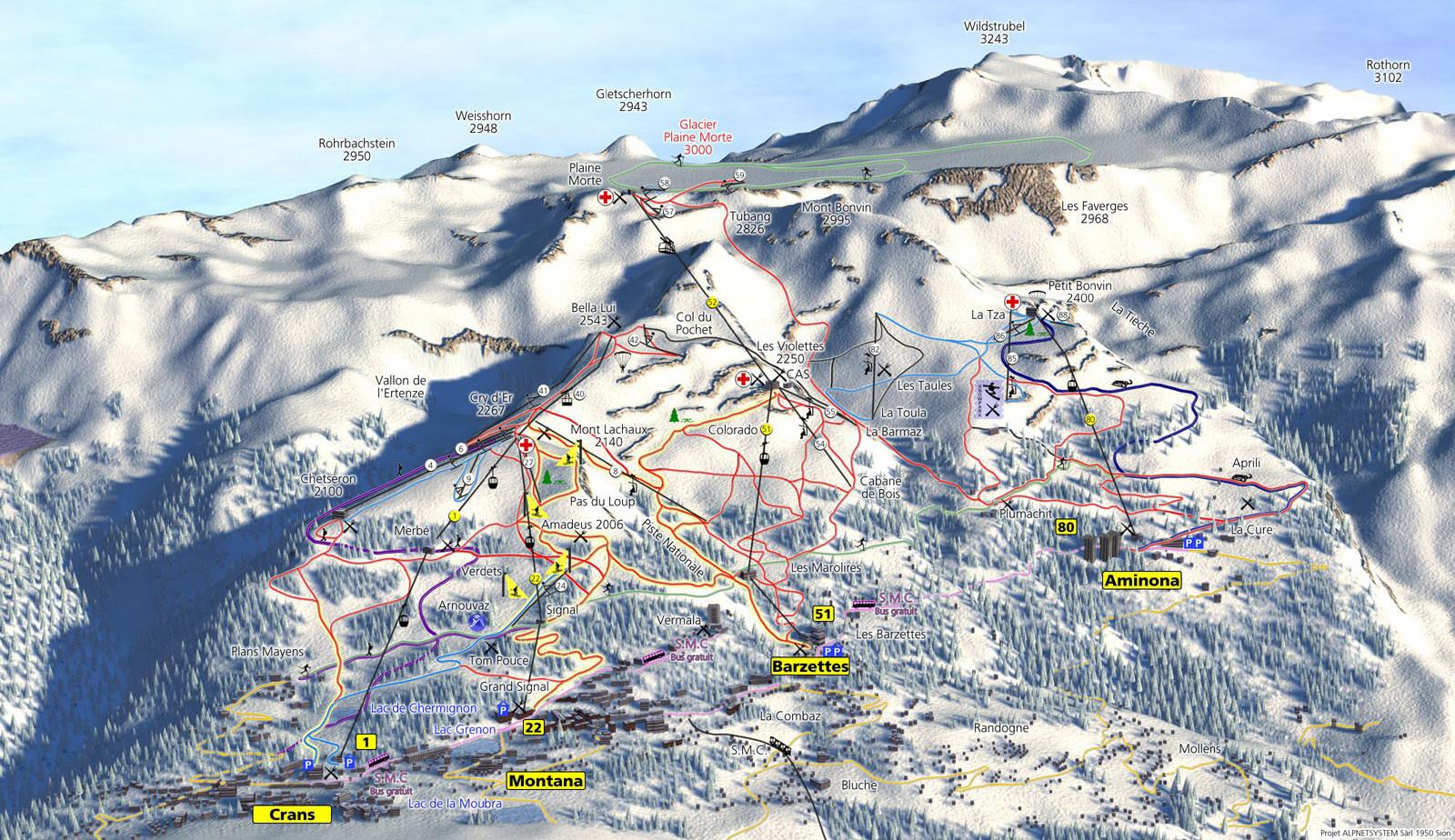 Lyžařská mapa sjezdovek areálu Crans, Montana, Aminona