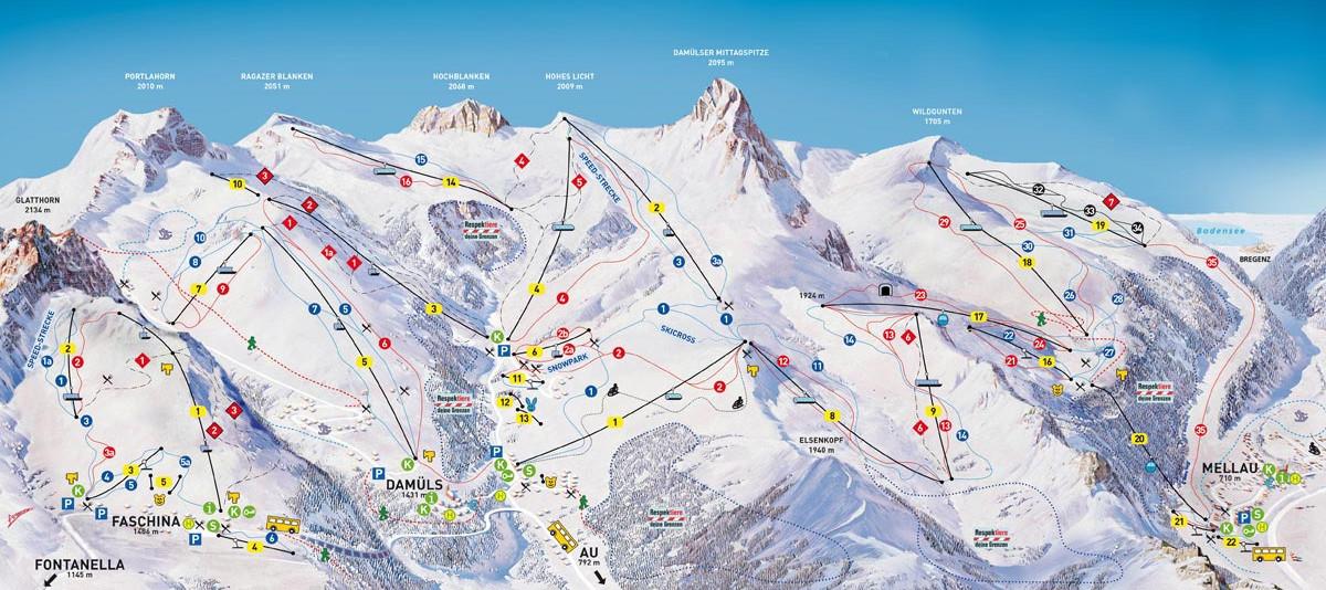 Lyžařská mapa sjezdovek areálu Damüls Mellau Faschina