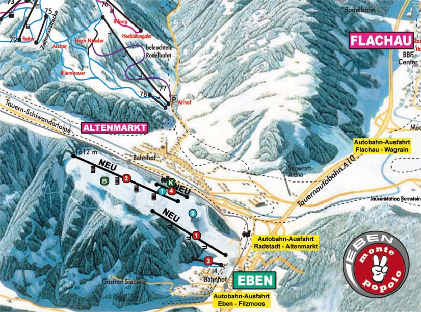 Lyžařská mapa sjezdovek areálu Eben / Monte Popolo